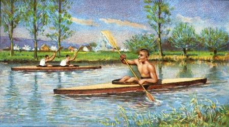 oar: canoe on the river