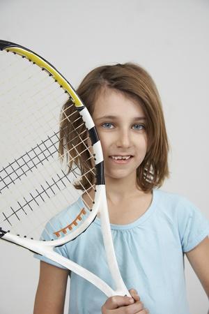 girl with tennis racket Reklamní fotografie