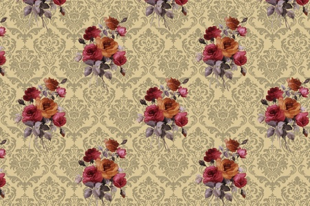 floral design background, vintage and ancient photo