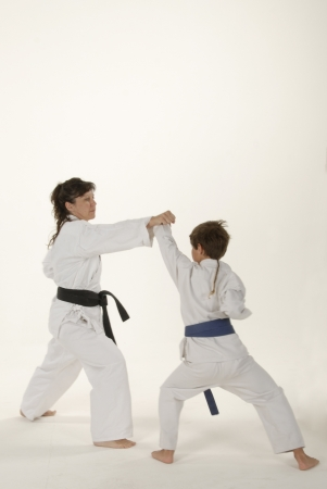 Martial arts training between teacher and student photo