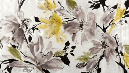abstract flowers: hand drawings on cloth