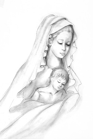 madonna: hand drawing Stock Photo