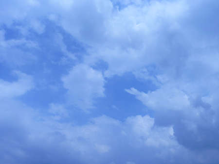 clear blue sky: Clear blue sky and white clouds