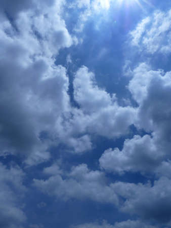 coagulation: White fluffy clouds in the blue sky