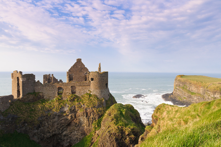 ireland: Dunluce castle on the northern coast of County Antrim, Northern Ireland.