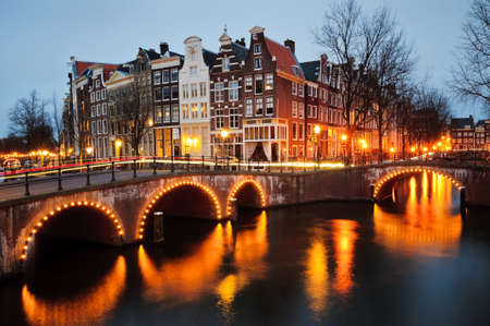 Tranquil canal scene in Amsterdam photo