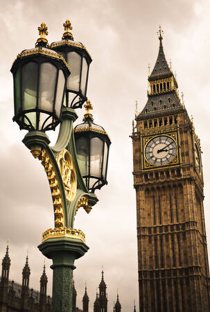 Big Ben Tower Clock And Street Lamp In London, England Stock Photo ...
