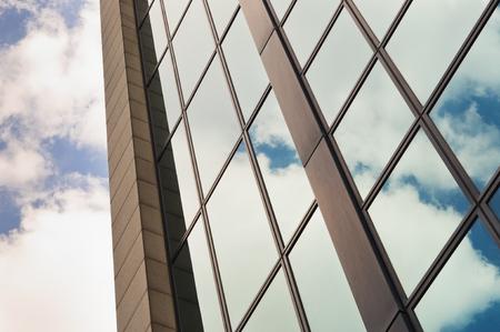 Sky reflection on glass modern building