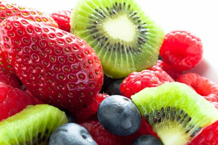 Close up of healthy breakfast with fruit salad