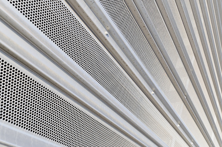 galvanised: Steel metallic wall converging to a point on left corner