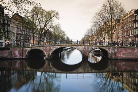 Amsterdam canal at sunrise