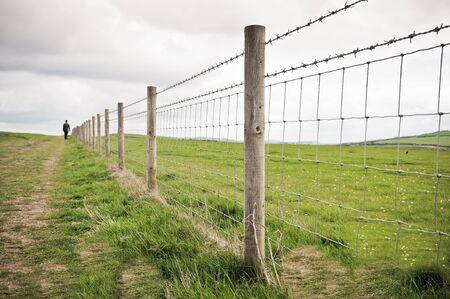 Man walking alone in countryside
