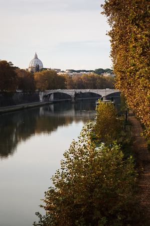 View of Vatican dome from the river, Rome