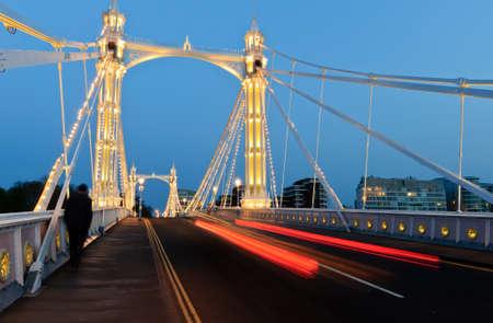 Albert bridge at night Фото со стока