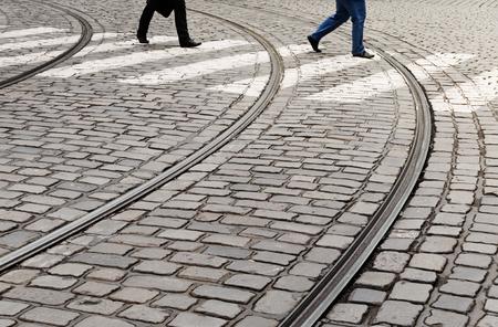 Zebra crossing on cobblestone pavemant Фото со стока