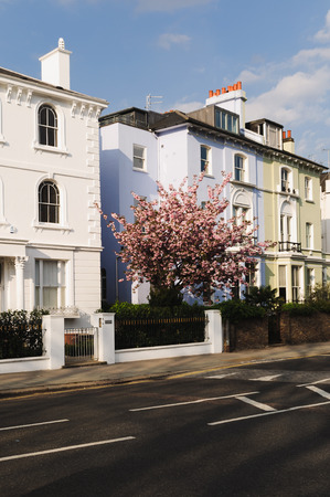 Typical houses in London during spring