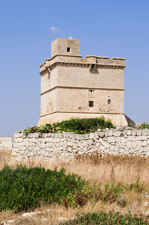 Typical defensive tower in Apulia behind a stone wall