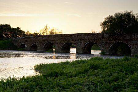 Whitemill bridge in Dorset at sunset