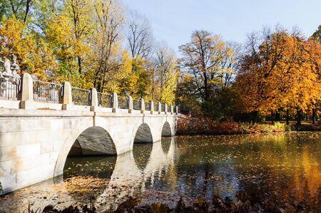 Bridge in Lazienki park during autumn season, Warsaw
