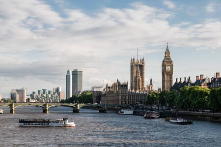 View of Thames river and Hous of Parliament in London