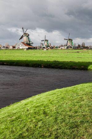Windmills in Zandaam Zaanse Schans village near Amsterdam, Netherland