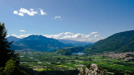 Aerial views of the Lakes of Caldonazzo and Levico, Italy, and of the valley surrounding them. Photo taken on the 19th of July 2009.