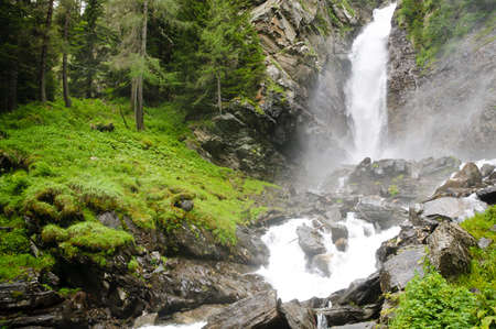 Water drop of the so called Saent waterfalls, formed by the river Rabbies, in the Italian Dolomites