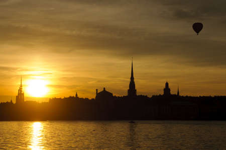 View of Stockholm old town  Gamla stan  and harbor at sunset