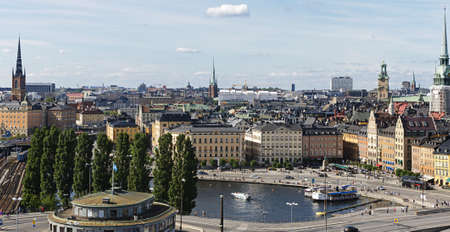 Aerial view of central Stockholm: Slussen and Stockholm old town (Gamla stan)