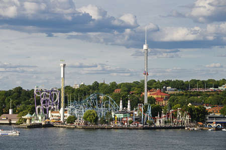 View of Stockholm amusement park (Grona lund) on the island of Djurgarden, Stockholm, Sweden
