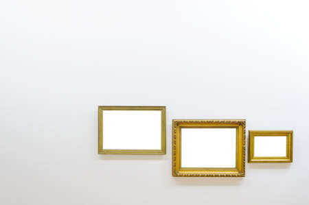 Empty frames in art gallery room photo