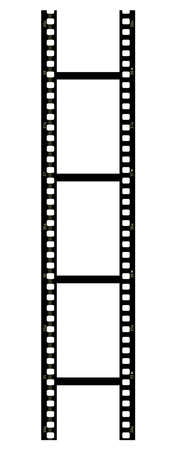 celluloid film: Vertical filmstrip on white background