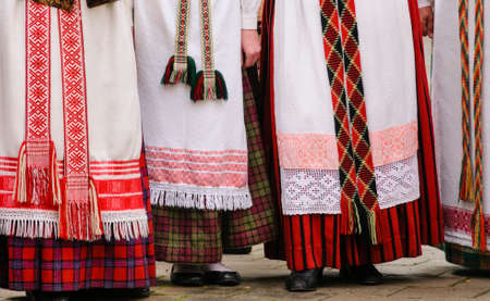 lithuanian: Detail of Lithuanian traditional dresses