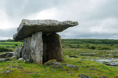 Poulnabrone dolmen, ancient portal tomb in Burren, County Clare, Ireland, Europe