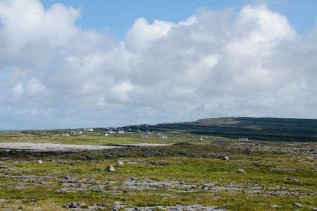 aran: Panoramic image of Inishmore, the biggest of Aran Islands, Galway Bay, Ireland, Europe Stock Photo