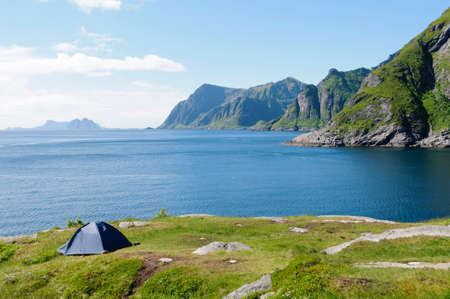 Camping on the coast of Moskenes, in the Lofoten Islands, Norway, Europe Stock Photo