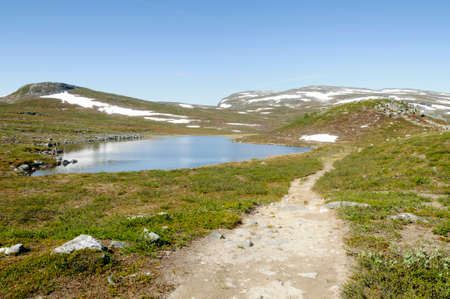 Lapland landscape: hiking path in Malla Strict Nature Reserve in Kilpisjarvi, Lapland, Finland, Europe