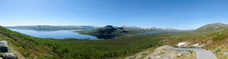 Lapland landscape: panoramic view of Lake Kilpisjarvi and the surrounding area from the top of Saana fell, Kilpisjarvi, Finnish Lapland, Finland, Europe