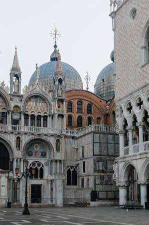 View of San Marco Basilica and Doges Palace in San Marco Square, Venice, Veneto, Italy, Europe