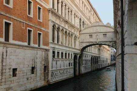 The bridge of Sighs, one of the most famous landmarks of Venice, Venice, Veneto, Italy, Europe