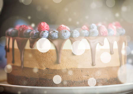 Beautiful fresh berry chocolate cake with abstract illustration on white plate