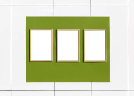 Three white frame photo on pastel green and white background, frame concept