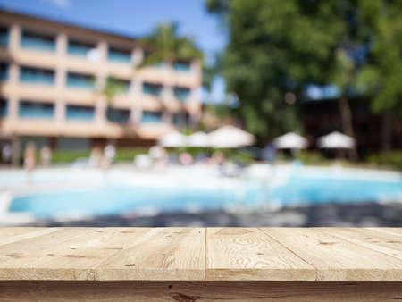 Natural park backgorund, beach summer background with wooden desk Stok Fotoğraf