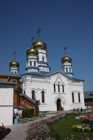 cupolas: Russia, Chuvash Republic, Tsivilsk  The Virgin of Tikhvin Monastery  Cathedral of Our Lady of Tikhvin   Stock Photo