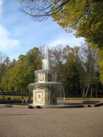 Roman fountain in the park  Russia, St  Petersburg, Peterhof   photo