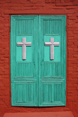 martyr: The door to the Church of St  Nikita s great martyr  Russia, Vladimir region, Yuriev-Polsky  Golden Ring of Russia  Stock Photo