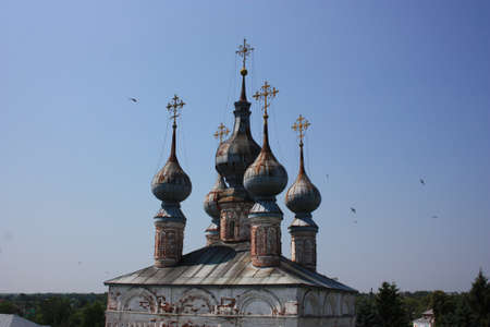 theologian: Crosses and domes  The Gate Church John the Theologian  17th century  in the Monastery of Archangel Michael  Russia, Vladimir region, Yuriev-Polsky  Golden Ring of Russia