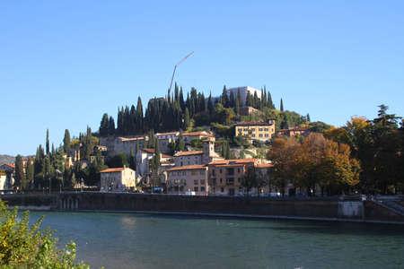 River Adige and the hill of San Pietro. Verona, Italy
