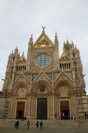 exterior architectural details: Siena Cathedral Cathedral of the Assumption of the Blessed Virgin Mary. Siena, Italy Editorial