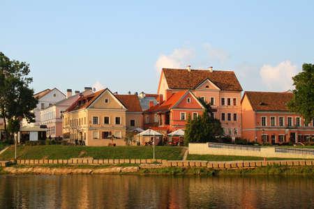 svisloch: The Trinity Suburb, river Svisloch. Belarus, Minsk Stock Photo